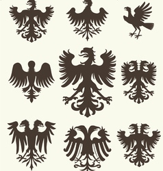 Heraldry set and retro background vector