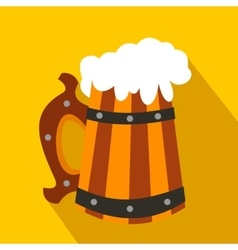 Wooden mug with beer flat icon vector