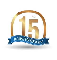 15 years anniversary experience gold label vector image
