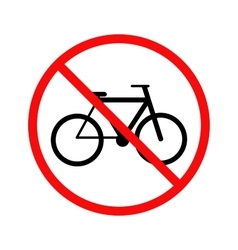 No cycling bicycle forbidden sign on white vector