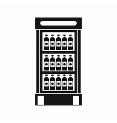 Fridge with refreshments drinks icon simple style vector