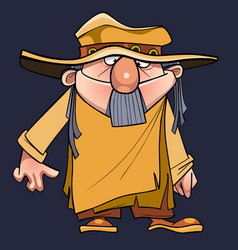 Cartoon man with a beard in a robe tunic and hat vector