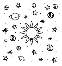 Cartoon space icons vector