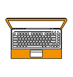 Color silhouette image top view laptop computer vector
