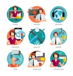 Customer support design emblems set vector
