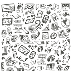 Devices computers - doodles set vector image vector image