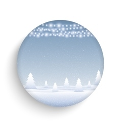 Garlands falling snow round glass frame vector image vector image