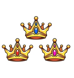 Golden royal crowns with jewelry elements vector