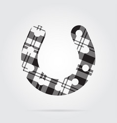 grayscale tartan icon - horseshoe with holes vector image vector image