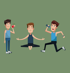 group people exercise healthy vector image vector image