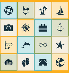 Hot icons set collection of ship trees baggage vector