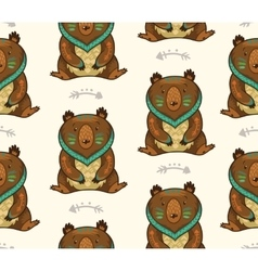 Indian seamless pattern of bear in vector image