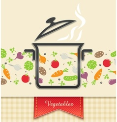 pan with vegetable food vector image