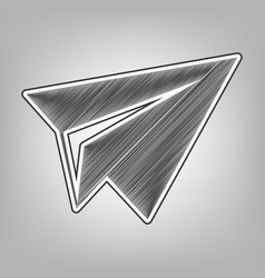 Paper airplane sign pencil sketch vector