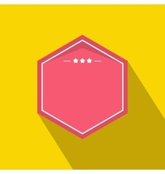 Pink badge with three stars icon flat style vector