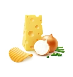 Potato ripple chips with cheese and onion isolated vector