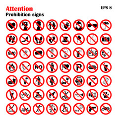 prohibition sign icons collection set of vector image vector image
