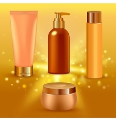 Realistic yellow collagen serum tubes icon set vector