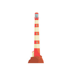Red and white lighthouse tower with a beam of vector