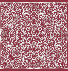 Red handkerchief with white ornament vector