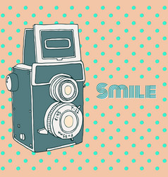 Retro hand drawn hipster photo camera vector
