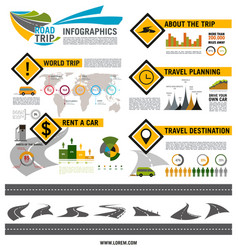 Road trip travel car tourism infographic design vector