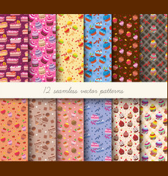 seamless cupcakes patterns vector image vector image