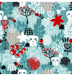 Seamless pattern with skulls and flowers vector image vector image
