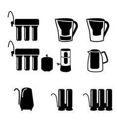 set of water filter in black silhouette icon vector image vector image