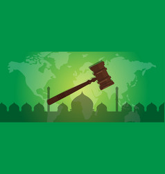 sharia islam law justice verdict case legal gavel vector image vector image