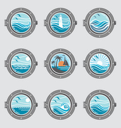 Ship portholes set vector