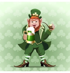 Smiling leprechaun vector image