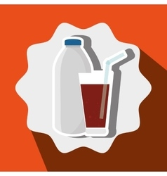 soda bottle and glass isolated icon design vector image