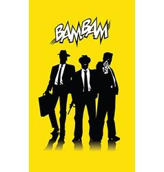 Three men in black vector image vector image