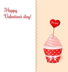 Vintage valentines card pink cream cupcake vector