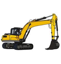 Yellow big excavator vector