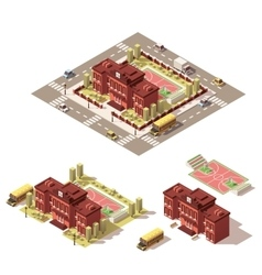 Isometric low poly school building icon vector