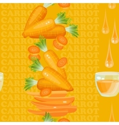 Seamless texture with carrot glass drop juice vector