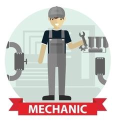 Flat modern design of male mechanic cartoon vector