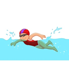 Funny cartoon girl swimmer in the swimming pool vector