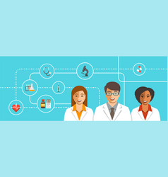 Doctors team with medical icons vector