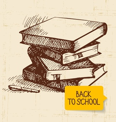Vintage hand drawn back to school background vector
