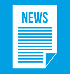 news newspaper icon white vector image