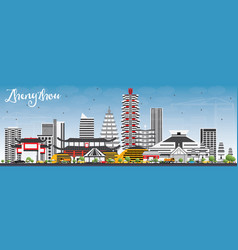 Zhengzhou skyline with gray buildings and blue sky vector