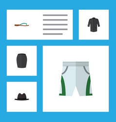 Flat icon garment set of uniform trunks cloth vector