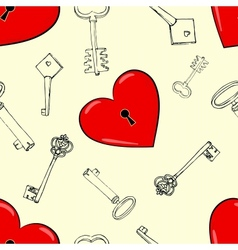 Heart and keys vector