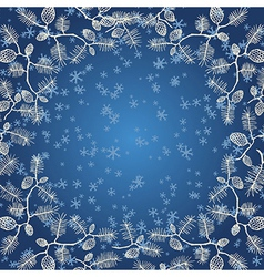 Snowflake fircone on blue gradient vector