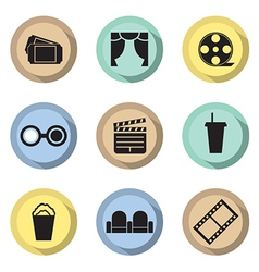Flat design cinema icons vector