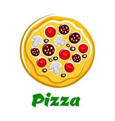 Pizza with sliced salami olives and vegetables vector