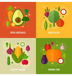Concept banners with flat vegetable icons vector